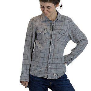 🌷 Vans Gray Plaid Button Down Shirt